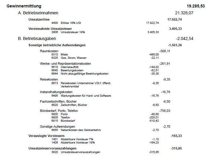 Beispiel einer Einnahme-Überschuss-Rechnung